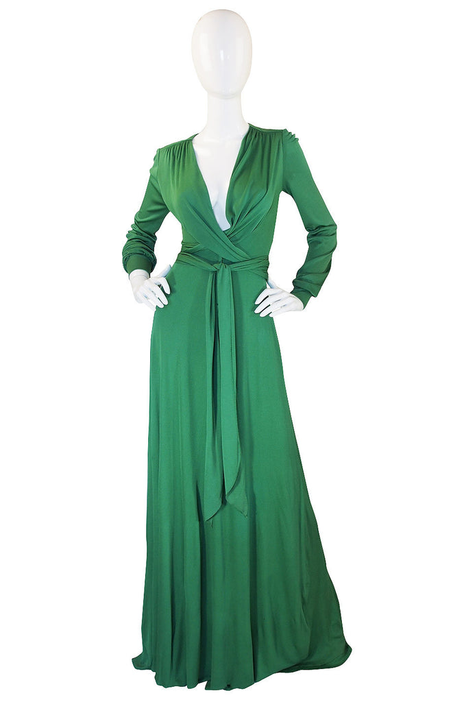 1970s Wrap Tie Front Holly's Harp Maxi Dress