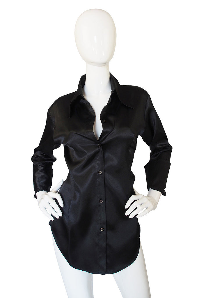 1990s Biba Satin French Cuff Shirt