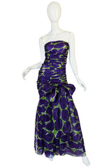 c1985 Yves Saint Laurent Purple & Green Silk Voile Strapless Dress