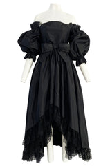 Important Fall 1959 Christian Dior by YSL Couture Black Silk Tafetta & Chantilly Lace Dress w Pouf Sleeves