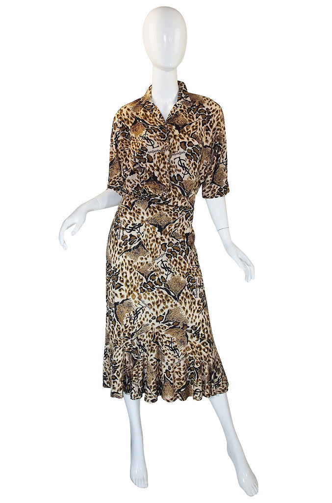 1980s Yves Saint Laurent Leopard Skirt & Top