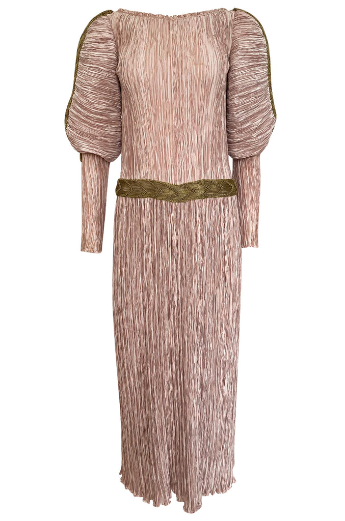 1980s Mary McFadden Dusky Pink & Gold Pleated Juliet Sleeve Dress
