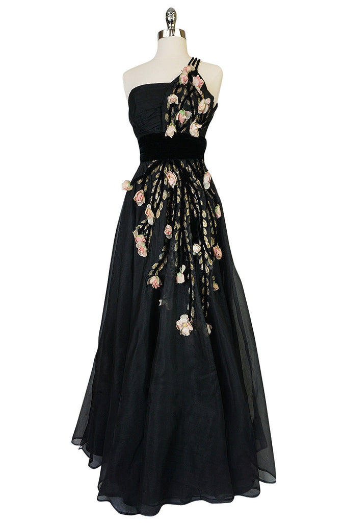1940s Hand Painted & 3D Floral Detail Black Silk Organza Dress