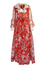 1973 Chanel Numbered Haute Couture Red Silk Chiffon Dress