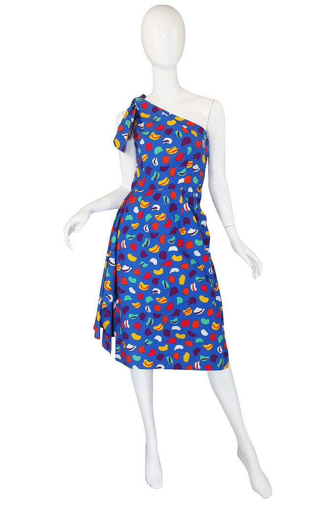 1970s Guy Laroche One Shoulder Bright & Pretty Print Dress