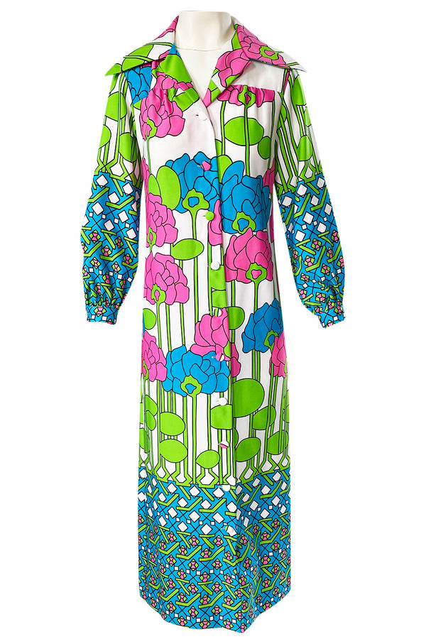 1970s Lanvin Mod Op Art Oversized Floral Print Jersey Shirt Dress