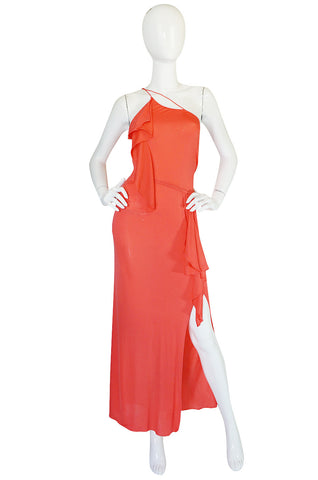 1970s Sexy Stephen Burrows Coral Jersey Maxi Dress