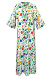 1960s Pierre Balmain Brilliant Floral Print Thai Silk Caftan Dress