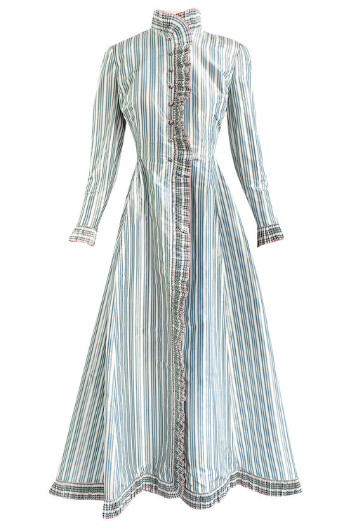 1998 Balmain by Oscar de la Renta Haute Couture Striped Silk Evening Coat Dress & Pant Set