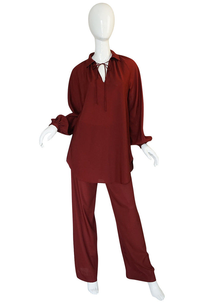 c.1974 Halston Deep Burgundy Evening Pajama Set
