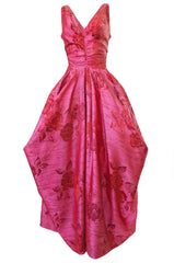 Extraordinary 1940s Dusky Pink Silk Draped Skirts Halter Dress w Crinoline