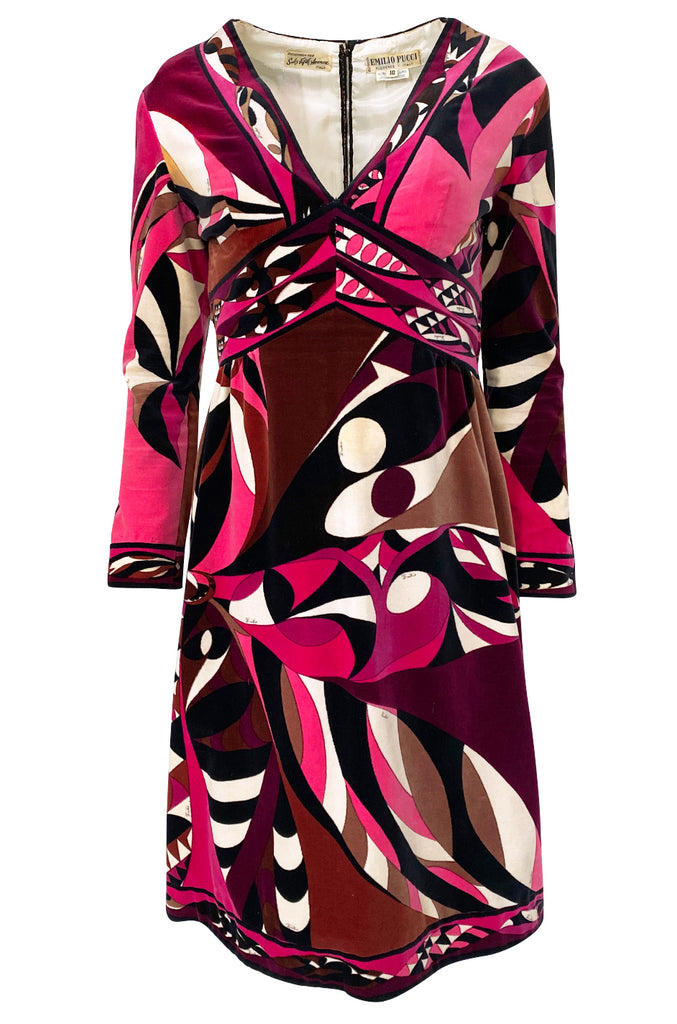 1960s Emilio Pucci Purple & Pink Curved Graphic Print Velvet Dress