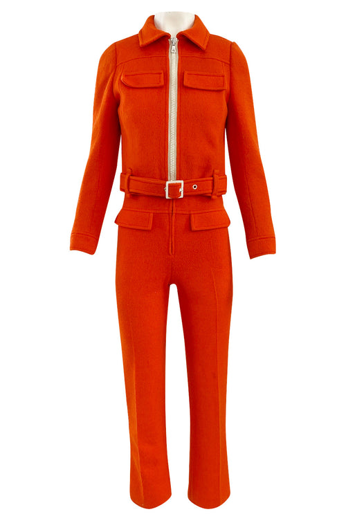 Rare 1970s Courreges Hyperbole Bright Orange Wool Jumpsuit & Matching Cropped Jacket