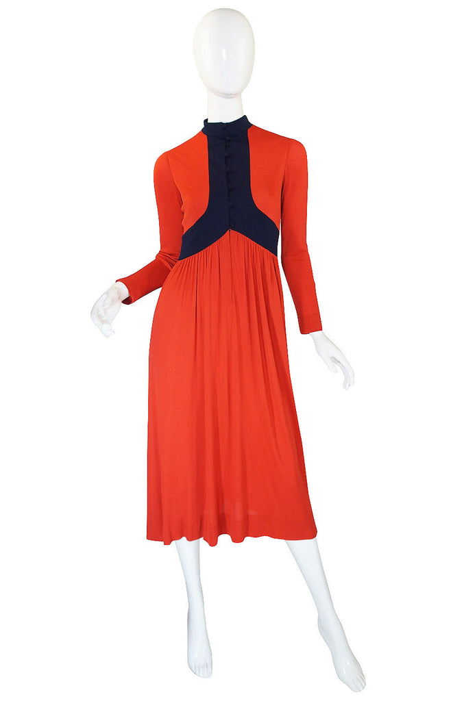 1970s Rodrigues Burnt Orange Jersey Dress