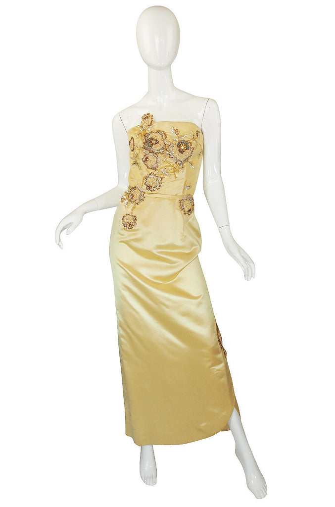 1950s Rare Silk Beaded Philip Hulitar Gown
