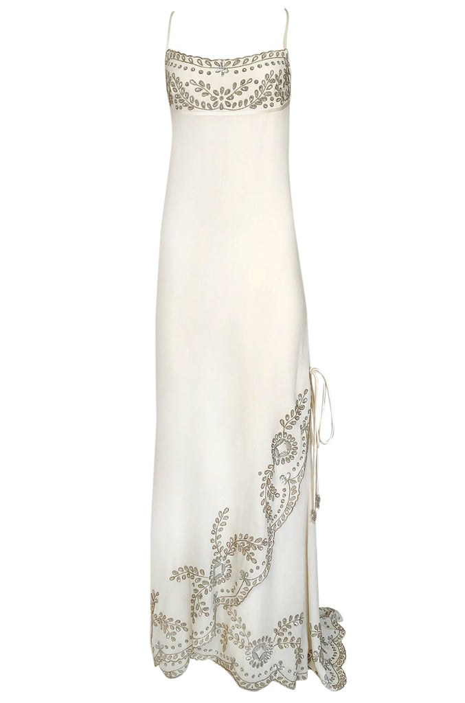 1990s Valentino Trained Backless Ivory Silk Dress w Sequin & Bead Detail