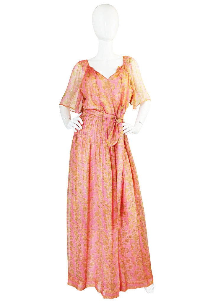 1970s Pink Print Silk Chiffon Treacy Lowe Caftan Dress