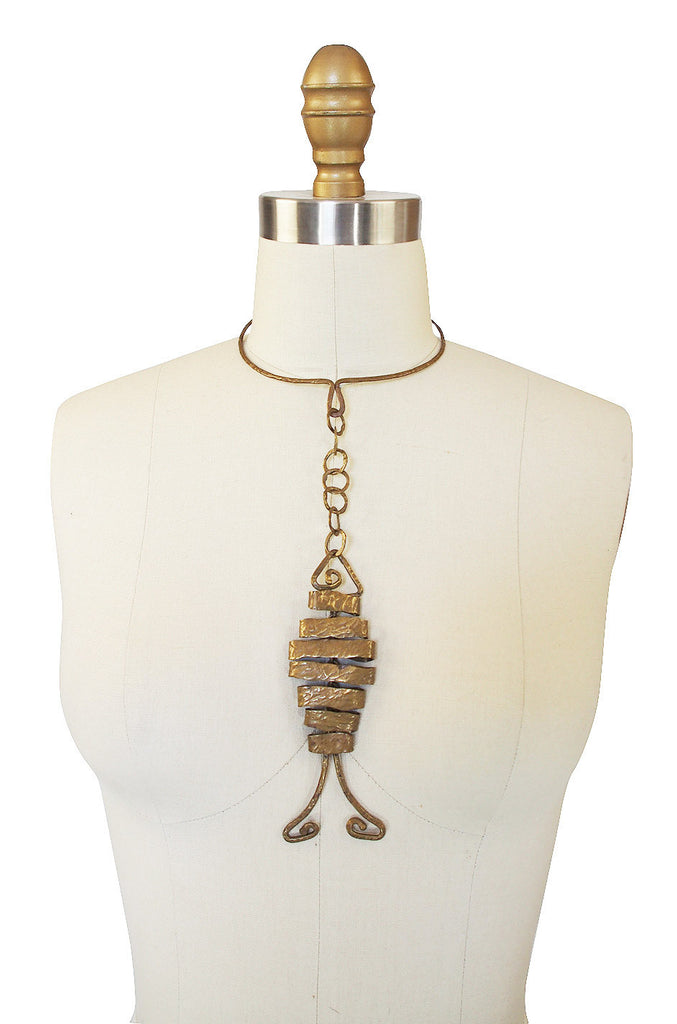 1960s Articulated Fish Brass Collar