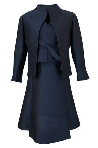 1950s Christian Dior Midnight Blue Demi-Couture 3 Piece Dress Suit