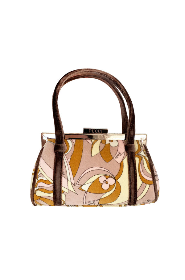 1990s Pucci Pink and Taupe Print Frame Top Handle bag