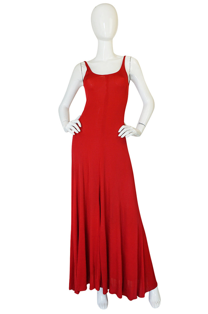 c1971 Halston Red Silk Knit Jersey Bias Cut Tank Dress