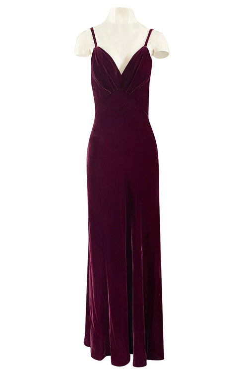 Stunning 1930s Deep Jewel Toned Merlot Bias Cut Silk Velvet Halter Dress w Low Back