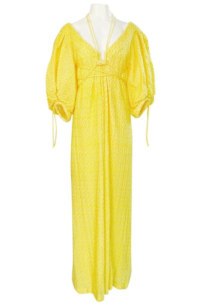 Fall 2016 Rosie Assoulin 'Holster' Bubble Sleeve Yellow Puff Fabric Tie Dress