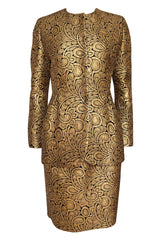 Fall 1991 Bill Blass Well Documented Gold Silk Brocade Jacket & Skirt Suit