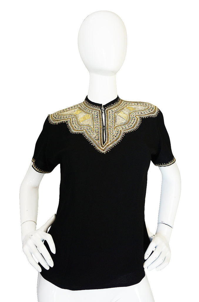 1940s Hand Embroidered Gold Metal Thread Top