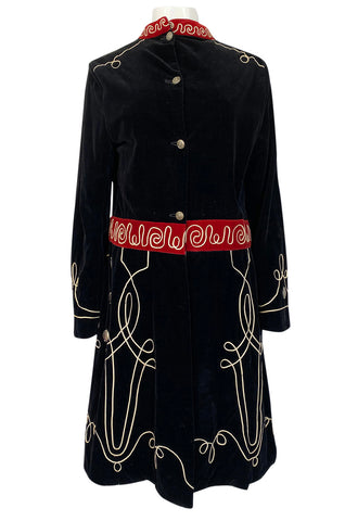1920s or 1930s Incredible Black Velvet, Cord & Silver Metal Disc Guard Coat