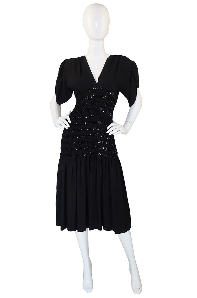 1983 Yves Saint Laurent Crepe & Sequin Dress