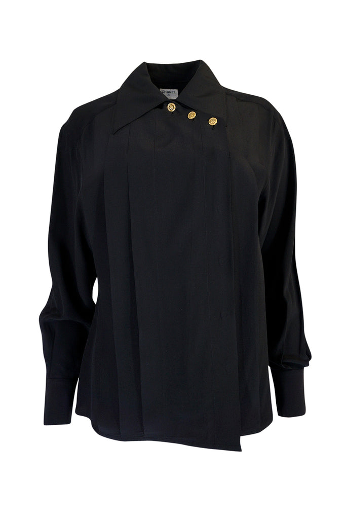1980s Chanel Black Silk Top w 4 Leaf Clover Gold Buttons