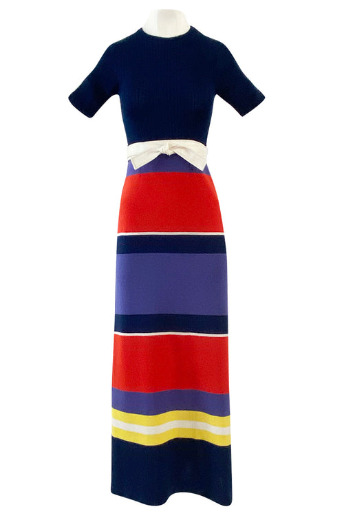 c.1972 Lanvin Bright Navy, Cornflower, Yellow, Red & White Stripe Knit Dress W Belt