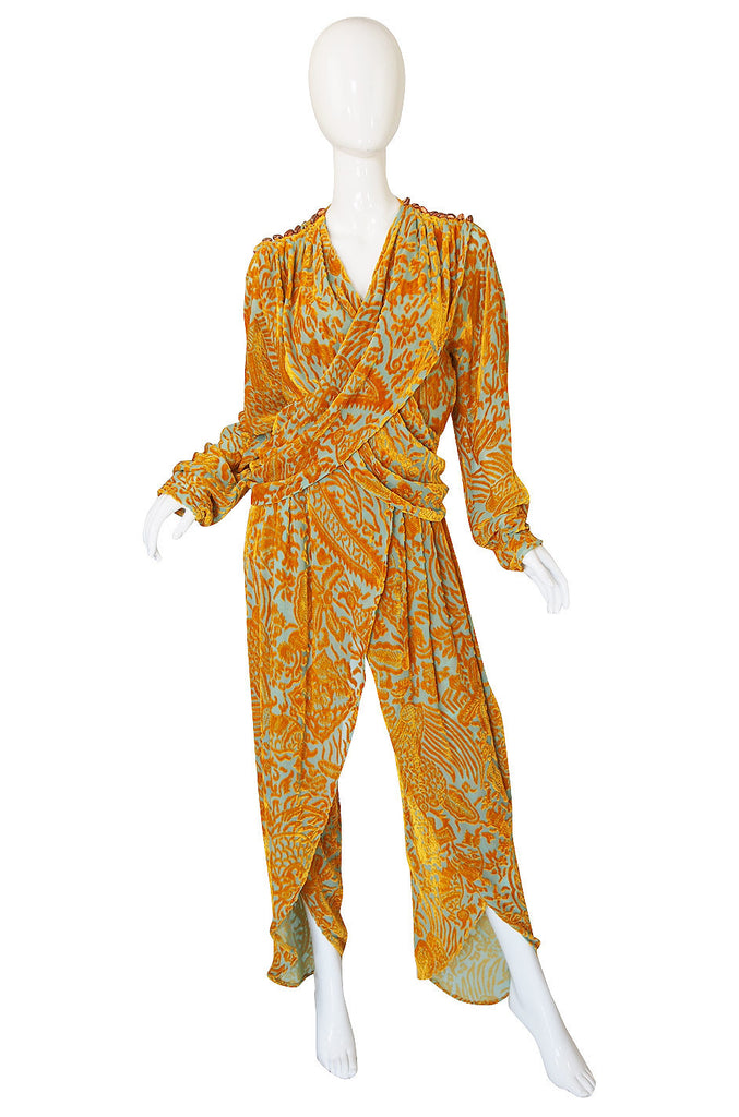 1980s Krizia Cut Silk Velvet Pant & Top Set