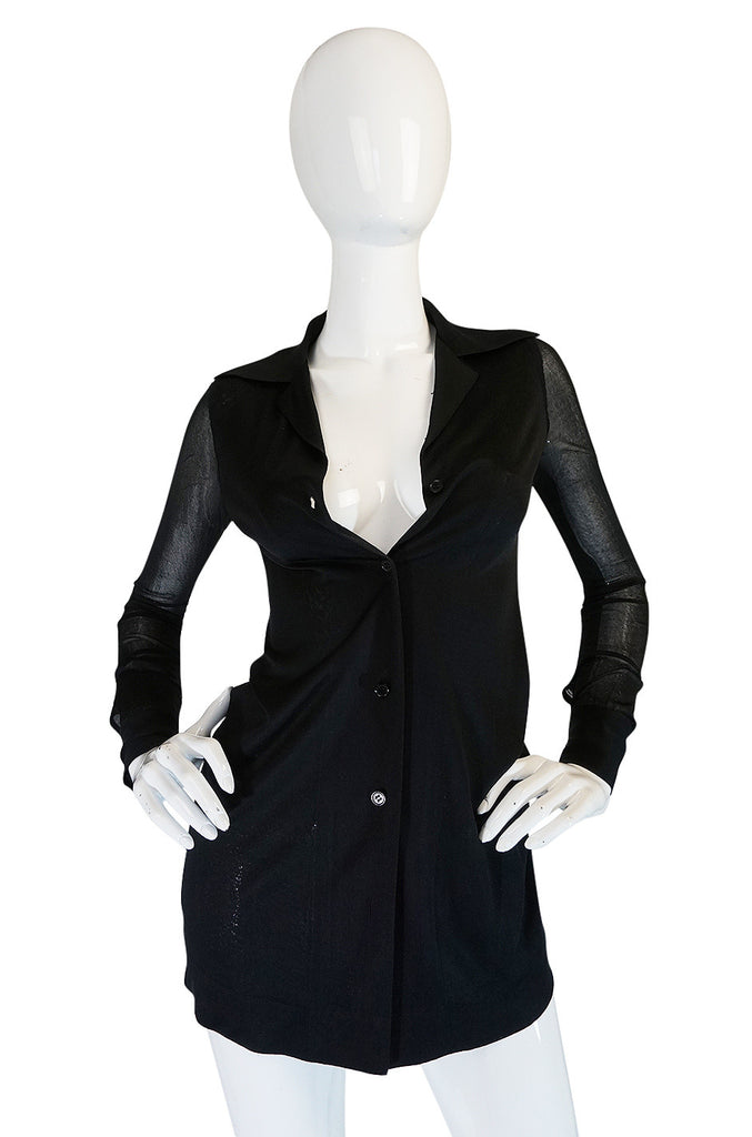 1970s Halston Black Nylon Jersey Sheer Top Cardigan