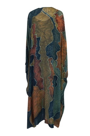 1970s Unlabelled Well Made Tie Dye Printed Silk Caftan