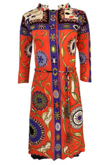 1960s Emilio Pucci Printed Silk Dress w Coppola e Toppo Tassel Belt