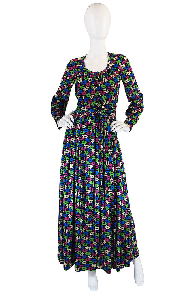 1960s Incredible Givenchy Silk Jersey Maxi Dress
