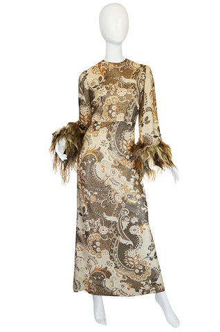 1970s Bill Blass Metallic Gold Lurex Knit & Feather Cuffed Dress