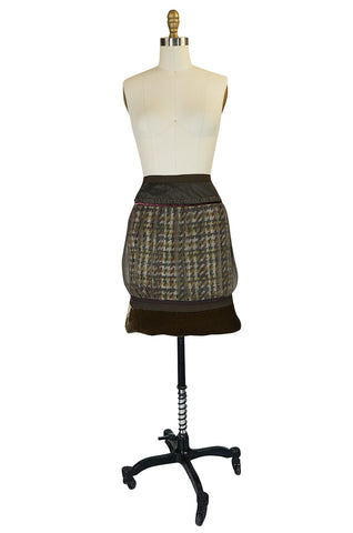 Recent Louis Vuitton Mixed Textiles Silk Chiffon & Tweed Skirt