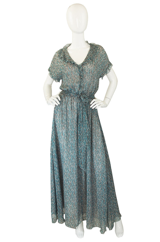 1970s Scott Barrie Silk Chiffon Ruffle Dress