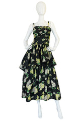 Late 1940s Sequin & Floral Print Cotton Voile Tiered Skirt Dress