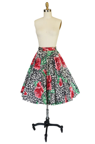 1950s Hand Painted Brilliant Rose Cotton Spiegel Skirt