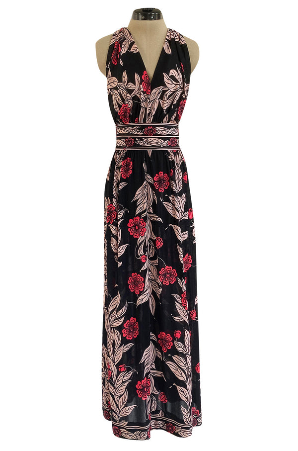 1960s Emilio Pucci Pink & Black Floral Printed Silk Jersey Halter Dress w Open Back