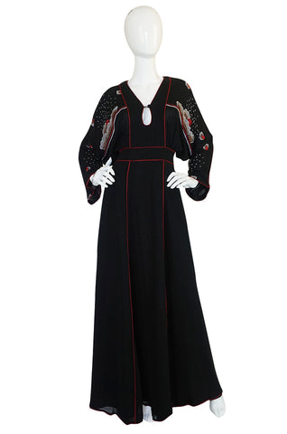 1970-74 Janice Wainwright Extensively Embroidered Caftan Dress