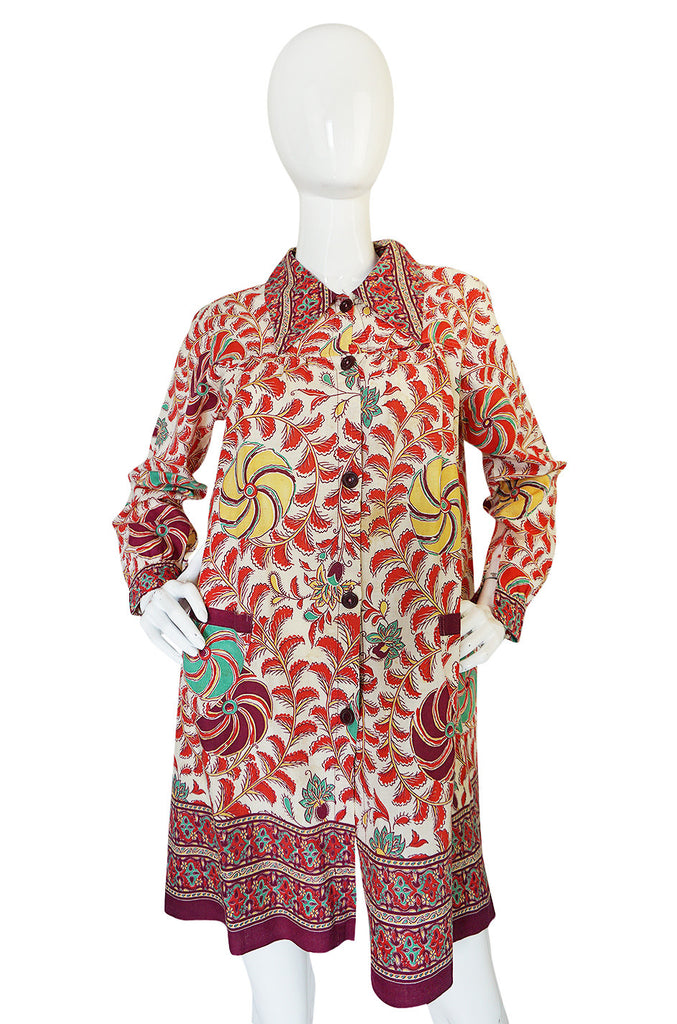 1940s Printed Cotton Button Front Tunic House Topper