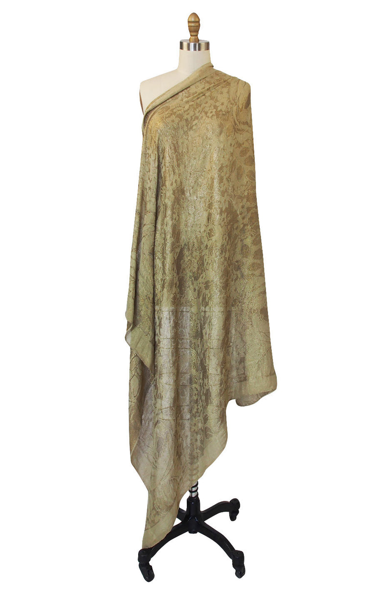Rare 1920s Gold Thread Lame Shawl or Scarf