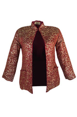 1930s Deep Burgundy & Gold Silk Brocade Asian Jacket