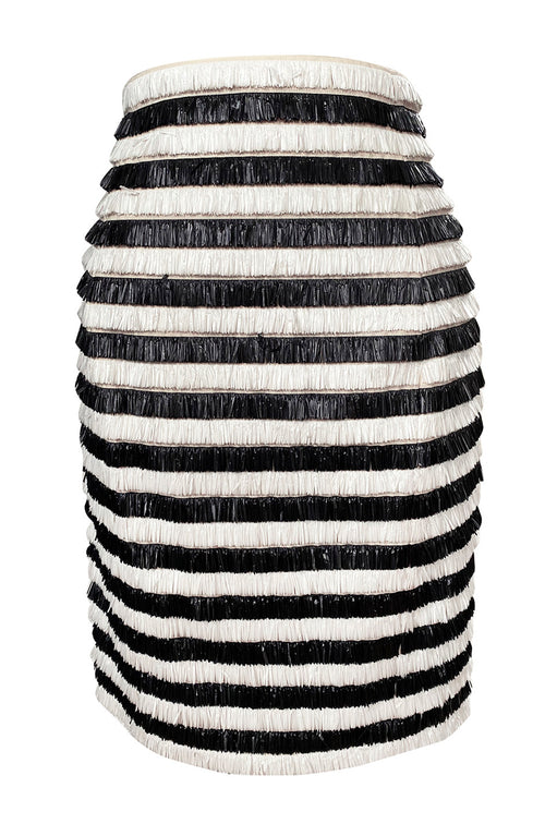 Resort 2015 Balmain Runway Graphic Striped Raffia Black & White Skirt