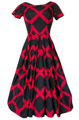 1950s Suzy Perette Black & Red Diamond Pattern Full Skirt Dress